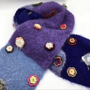 [MINA POE] Handmade flower knit scarf France Paris